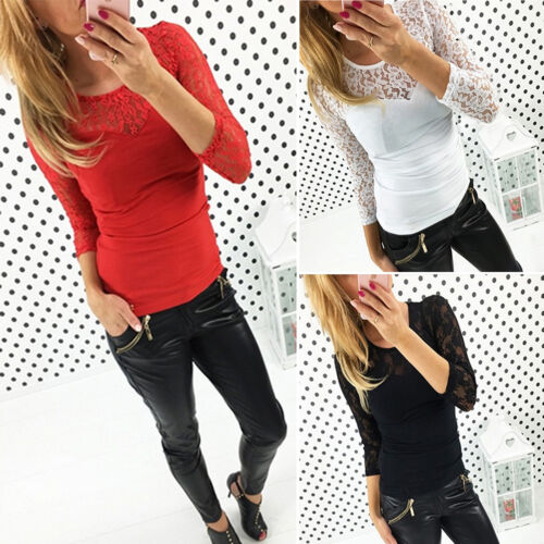 1 von 7Kostenloser Versand Damen Sexy Spitze Hollow Oberteile Bluse T-Shirt  Langarm Party Tunika Top Club ff09067dfc