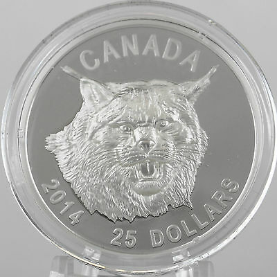 Canada 2014 $25 Canada Lynx 99.99/% Pure Silver Ultra-High Relief Proof Coin