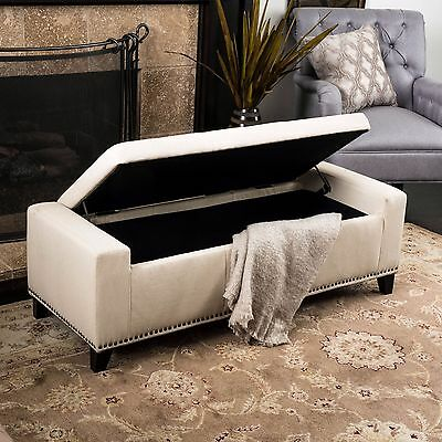 1 Of 3FREE Shipping Contemporary Upholstered Tufted Top Fabric Storage  Ottoman Bench W/ Nailheads