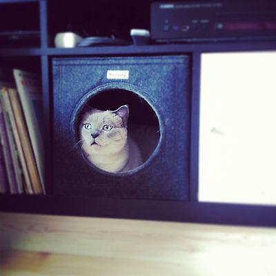 Katzenbett Katzenhöhle aus Filz dunkelgrau u. a. passend für Ikea Expedit Kallax