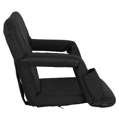 2 PCS Black Stadium Seat Bleacher Chair Cushion - 5 Reclining Positions 11