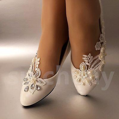 su.cheny White ivory pearls lace flat ballet Wedding Bridal shoes size 5-12