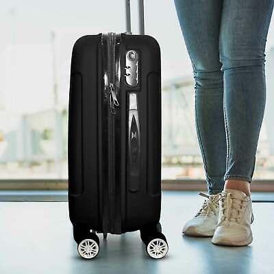 Trolley Rigido Da Viaggio Bagaglio a Mano Nero Voli Ryanair EasyJet 55x35x20 cm 3