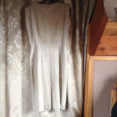 Vintage 1950s rayon grey/cream wiggle dress size 10