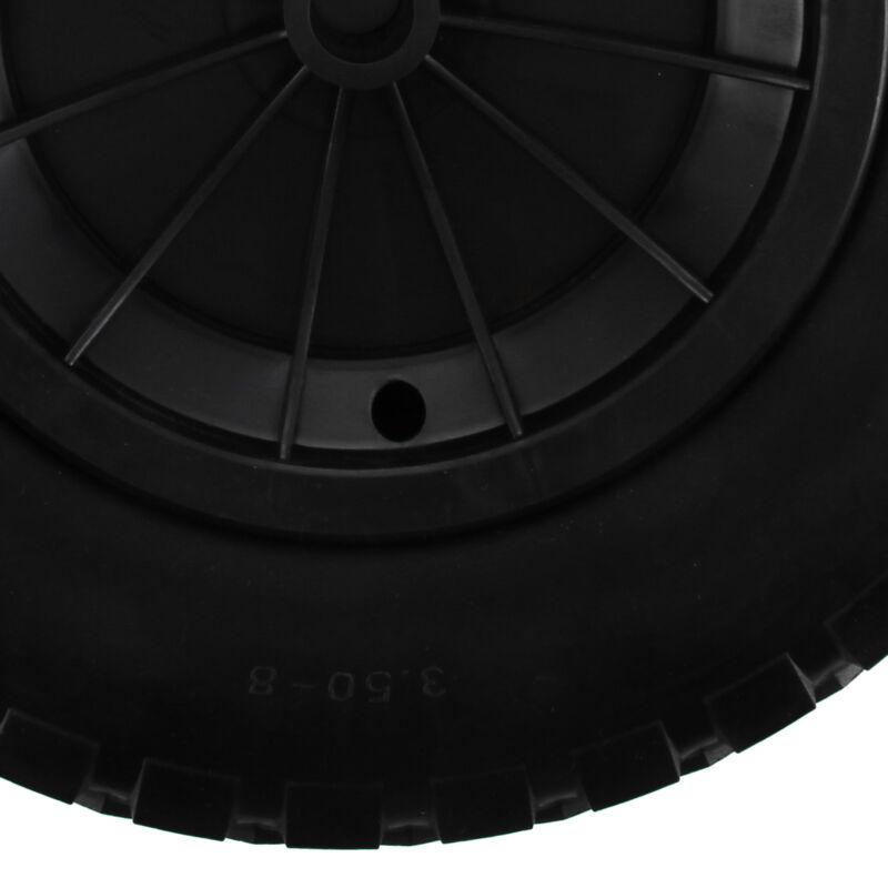 "14"" BLACK PU WHEELBARROW WHEEL / PUNCTURE PROOF / SOLID 3.50/3.00-8 - 1"" bore 8"