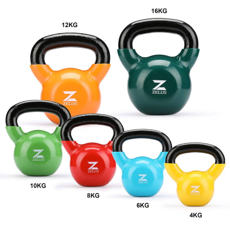 4KG-16KG CAST IRON KETTLEBELLS Vinyl WEIGHT EXERCISE STRENGTH GYM TRAINING 2