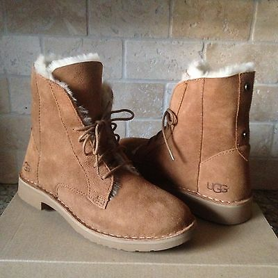 a9f7b3bc527 UGG Quincy Chestnut Suede Sheepskin Lace up Ankle Boots Shoes US 7.5 Womens