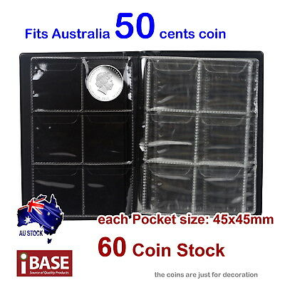 2x Coin Album Holder Storage Collection Collecting Stock Pocket 60 Slots 50 cent 3