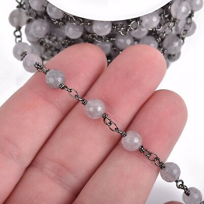 3ft GREY JADE GEMSTONE Rosary Chain, gunmetal links, 6mm round faceted fch0800a 2