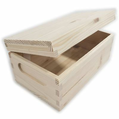 XSmall Rectangular Wooden Storage Box With Lid And Handles To Decorate Craft DIY