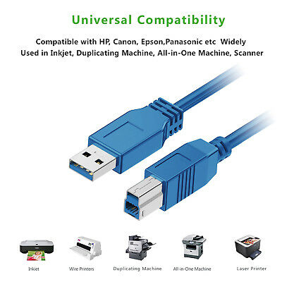 Lot 3FT 6FT 10FT 15FT USB 2.0//3.0 Printer Cable A Male to B Male Extension Wire