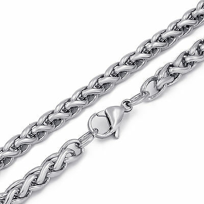 """3/4/5/6MM Mens Silver Stainless Steel Necklace Wheat Braided Chain 18-30"""" inch 5"""