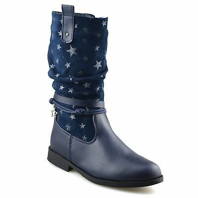 Girls Kids Childrens Zip Up School Winter Casual Mid Calf Biker Boots Shoes Size 7