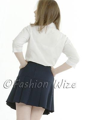 Girls Womens Pleated School Skirt Drop Waist Grey Black Navy Ages 5-16 Size 6-24 8