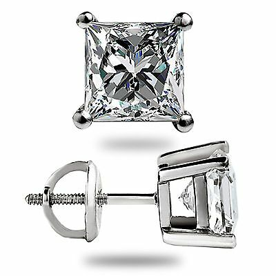 3.1 Ct Solitaire Princess Cut Stud Earrings Lab Diamond 14K White Gold Screwback 3