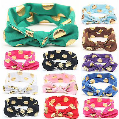 Newborn Kids Girls Headband Ribbon Elastic Baby Headdress Hair Band Bow Knot 8