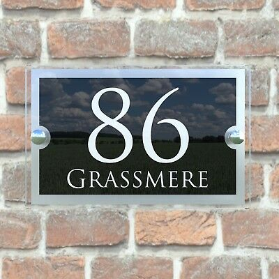 Contemporary House Sign Plaques Door Number 1 - 9999 Personalised Name Plate 5