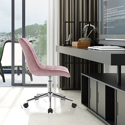 1x Bürostuhl Arbeitshocker Drehhocker Schreibtischstuhl aus Samt Rosa BS76rs