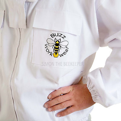 [UK] Buzz Work Wear Beekeeping White Zip-Up Round Veil Bee Jacket- SELECT SIZE