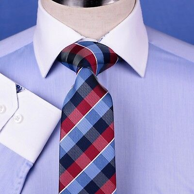 Men/'s Blue La Plata Formal Business Dress Shirt  Single Cuff Spread Collar Style