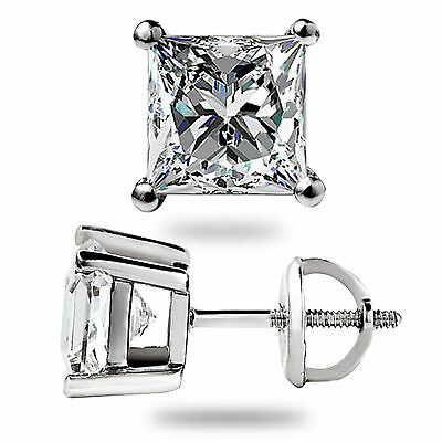3.1 Ct Solitaire Princess Cut Stud Earrings Lab Diamond 14K White Gold Screwback 8