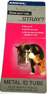 pet ID Tube Ancol metal Choose from 2 Sizes for Dogs Cats or Luggage & Keys 3