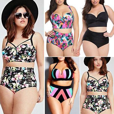 Talla Grande Mujer Cintura Alta Bikini con Relleno Traje de Baño Playa Baño Set 2