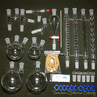 24/40,New Organic Chemistry Laboratory Glassware Kit,32 PCS,Lab Chemilcal Unit 3