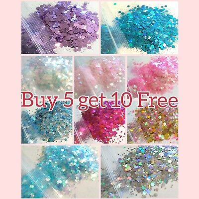 CHUNKY Festival Glitter 5g bag, Face Eye Body Hair Tattoo Cosmetic Glitter Party 2