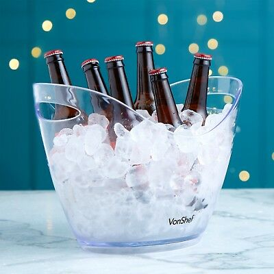 VonShef Ice Cooler 7.5L Acrylic Beer Bucket Champagne Drinks Wine Large
