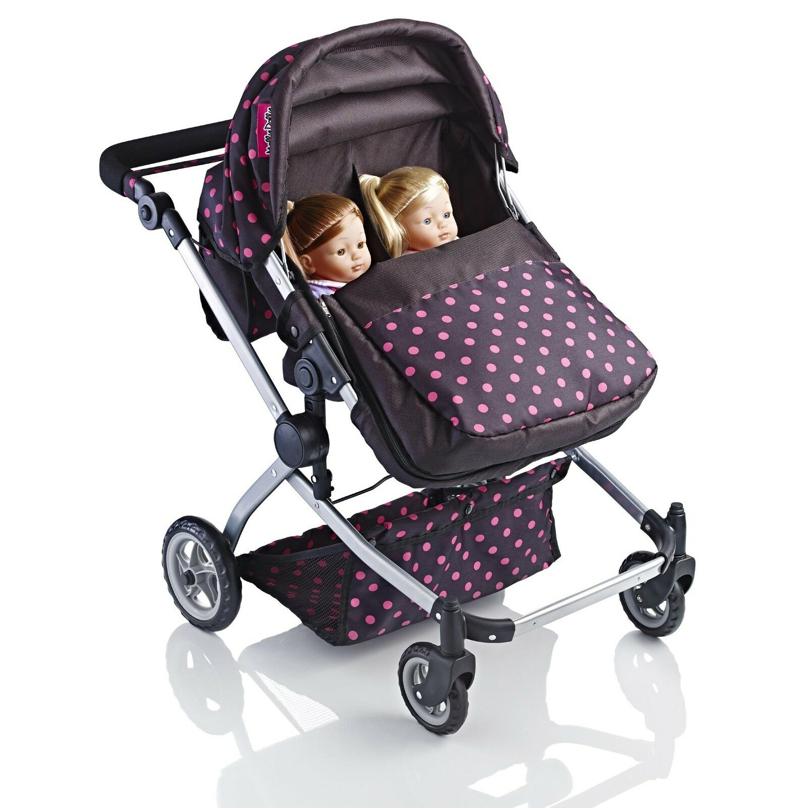 Molly Dolly 2 in 1 Twin Deluxe Babyboo Doll Stroller/Pram Buggy Girls Junior Toy 2