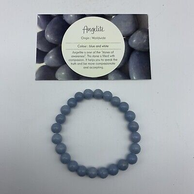 Angelite Crystal Bead Bracelet - Stretch Anhydrite 8mm Bead Bracelet 5