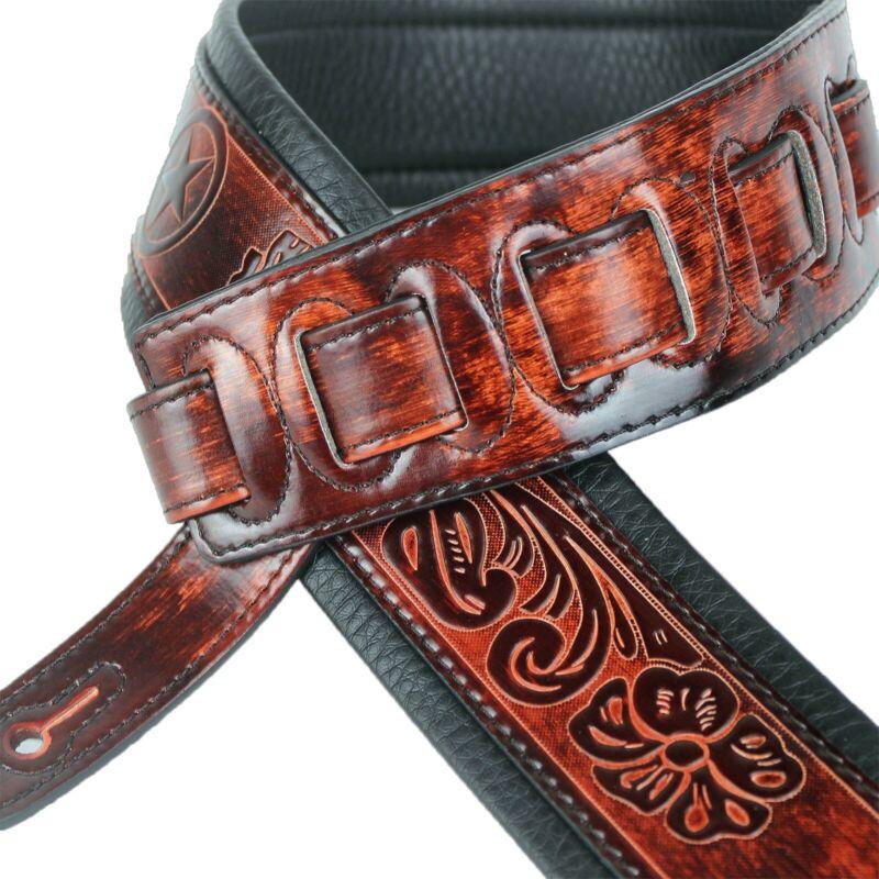 Walker & Williams GB-126 Bourbon Brown Texas Star & Skulls Padded Guitar Strap 4