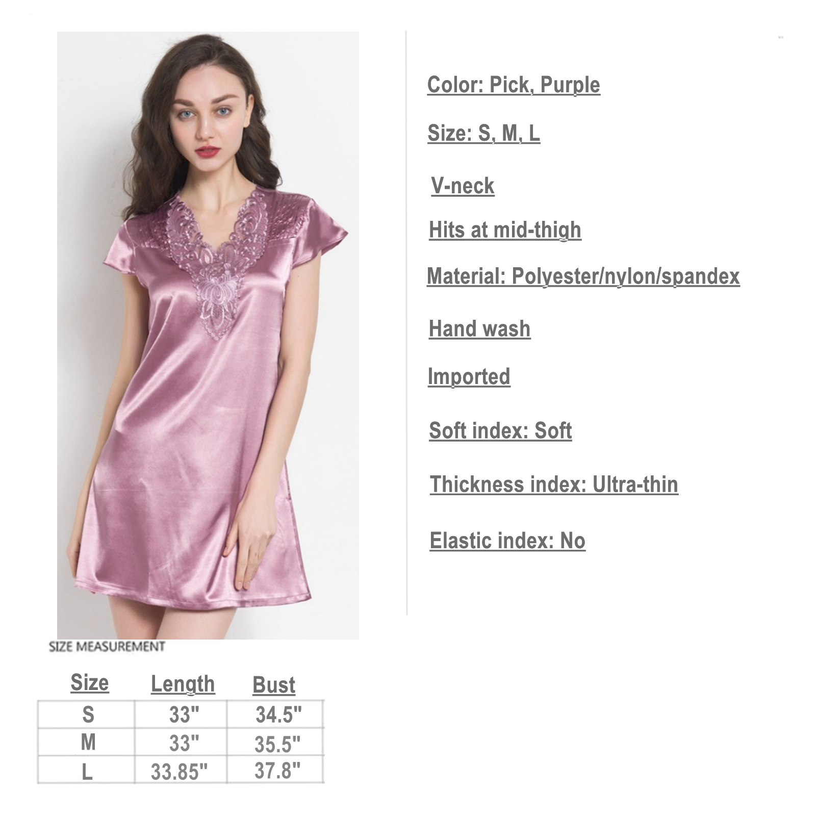 95a398ea61 Women Satin Sleepwear Dress V-Neck Short Sleeve Nightgown Lace Sleep  Lingerie 2 2 of 2 See More