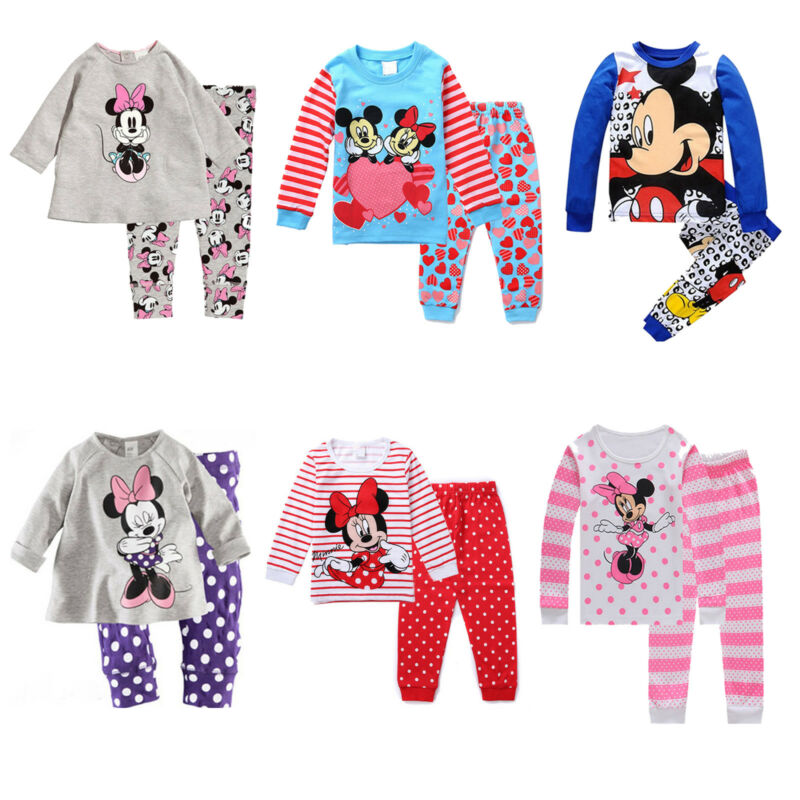 Disney Minnie Mouse Mädchen Schlafanzug Pyjama Pyjamaset Hausanzug Nachtwäsche