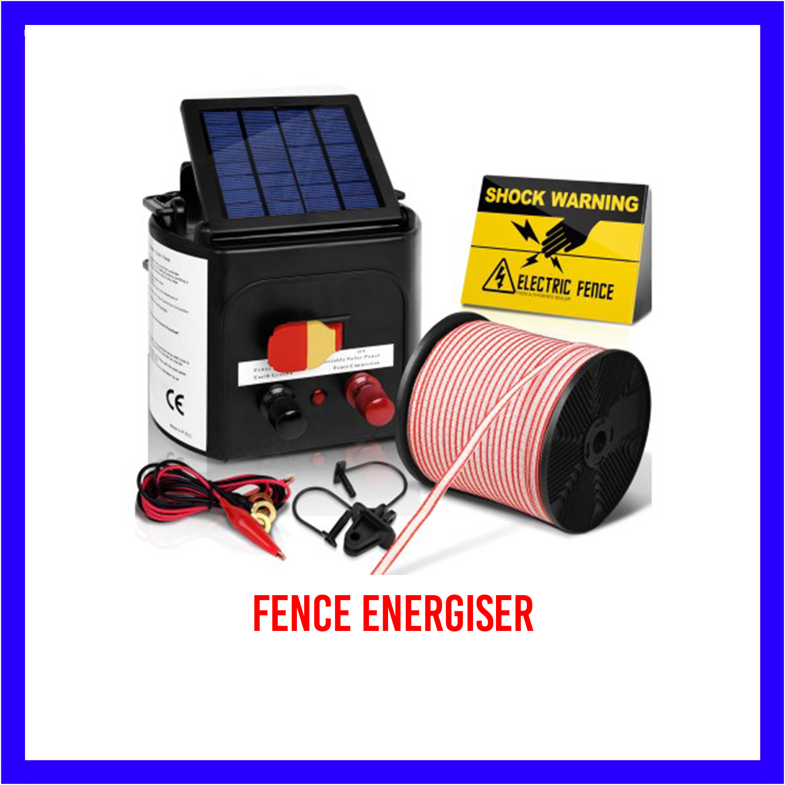 3km Solar Electric Fence Energiser/Charger Kit, 400m Tape, 25 Insulators & Sign 2