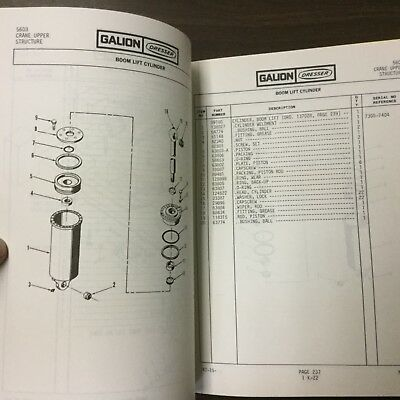 Galion 150FA PARTS MANUAL BOOK CATALOG MANUAL HYDRAULIC MOBILE CRANE GUIDE #5603 2