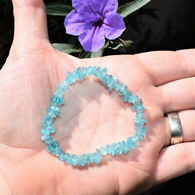 CHARGED Blue Apatite Crystal Chip Bracelet Polished Stretchy ENERGY REIKI 2