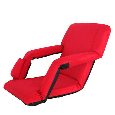 Portable Stadium Seat Chair, Reclining Bleacher Seat Red w/ 5 Assorted Positions 6