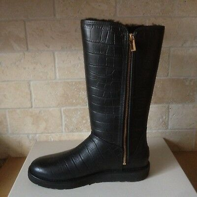 43e79f14aa3 UGG CLASSIC TALL Abree Ii Croc Croco Nero Black Leather Boots Size Us 7  Womens