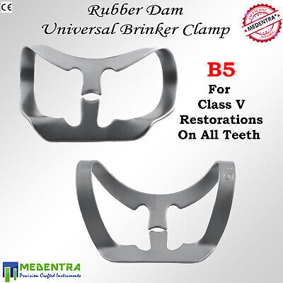 Brinker Rubber Dam Clamps Dental B4,B5,B6 pour digue de caoutchouc 3PCS 3