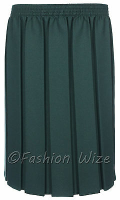 Ages 2-20 Girls School Skirt Box Pleated All round Elasticated Knee Length Grey 6