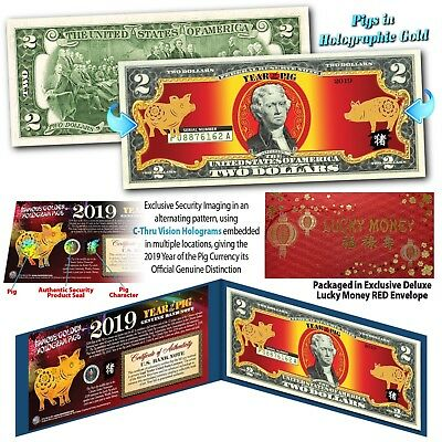 2019 Chinese New Year US Genuine $2 Bill YEAR OF THE PIG Gold Hologram Lunar Red