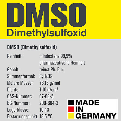 DMSO, Dimethylsulfoxid, über 99,9% laborrein (Ph Eur), Glasflasche [100-500 ml]