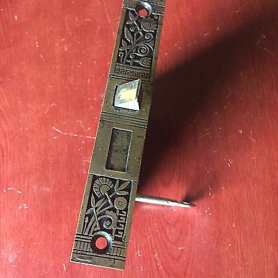Antique Nashua Mortise Lock  bronze  Faceplate With Working Skeleton Key 2
