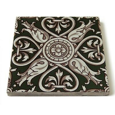 Antique Tile Victorian Aesthetic Gothic Arts Crafts Floral Lea Hearth Green Gray 9