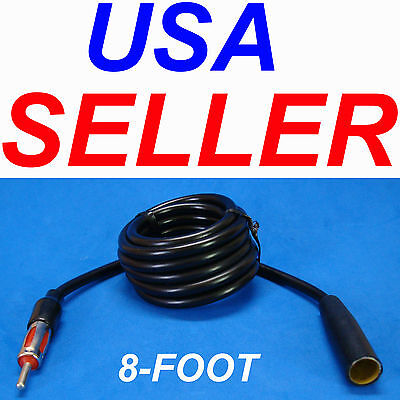 """96/"""" 8/' FOOT AUTO ANTENNA EXTENSION CORD ANT MALE FEMALE CAR AM FM ADAPTER CABLE"""