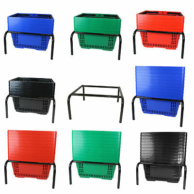 Plastic Shopping Basket | 6 Colours | 5 Pack or 10 Pack | With Stacker Stand 8