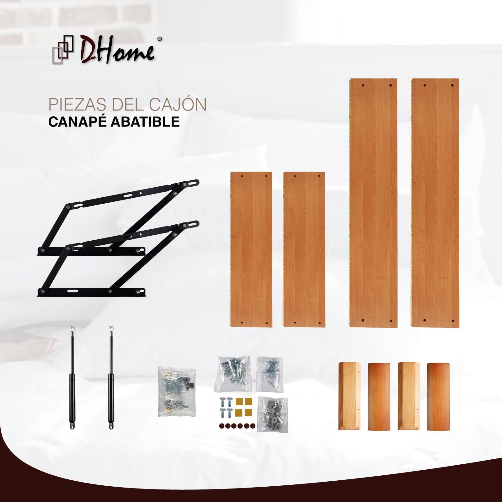 Canape Abatible Tapizado 3D Blanco ESQUINAS MACIZAS HAYA 29cm cap. canapé madera 6