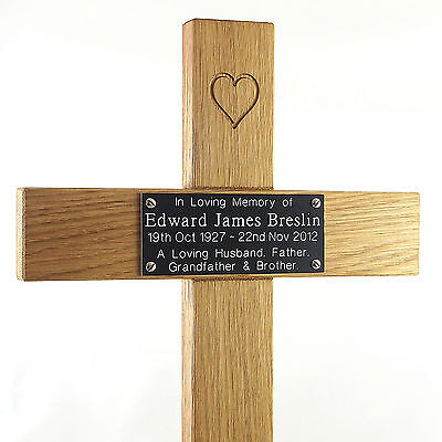 "24"" Carved Heart Oak Cross Memorial Grave Marker Custom Engraved Plaque Included 7"